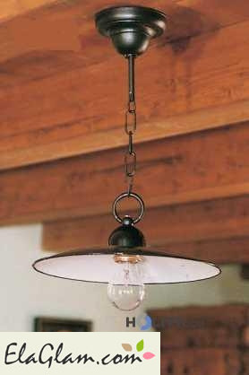 Suspension lamp made of wrought iron h16830