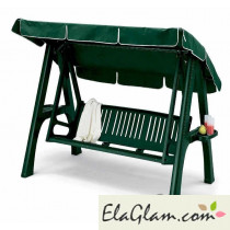 Swing 3 seater removable resin and aluminum with bottle carrier green