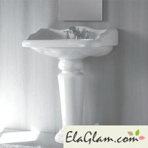 Classic washbasin with pedestal in ceramic  h11613