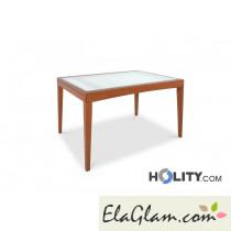 Tavolo rettangolare allungabile in legno con piano in vetro h13013