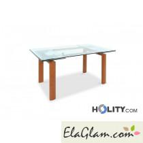 Tavolo rettangolare allungabile in metallo con piano in vetro h13017