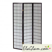 3 doors wooden folding screen h12206 black