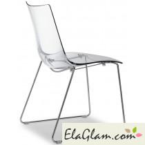 Sedia in policarbonato e acciaio a slitta h74105 trasparente