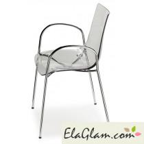 Sedia in policarbonato e acciaio con braccioli h74104 trasparente
