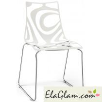 Sedia in tecnopolimero co-stampato e struttura in acciaio a slitta h74102 trasparente + lino