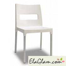 Sedia in tecnopolimero e alluminio h74119 lino