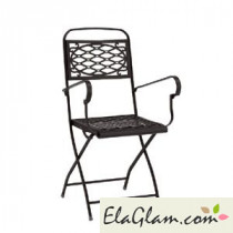 Steel folding chair with armrests h7488 linen