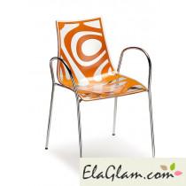 Sedia in tecnopolimero co-stampato e struttura in acciaio h74101 trasparente + lino
