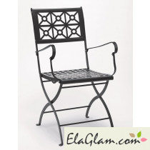 Steel folding chair with armrests h7484