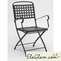 Steel folding chair with armrests h7486
