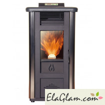 Pellet stove with modern design in stainless steel h10113